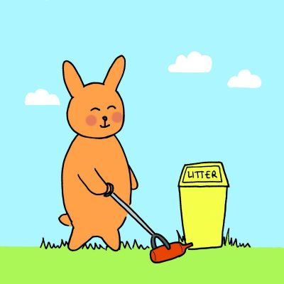 Bunny Picking Up Litter